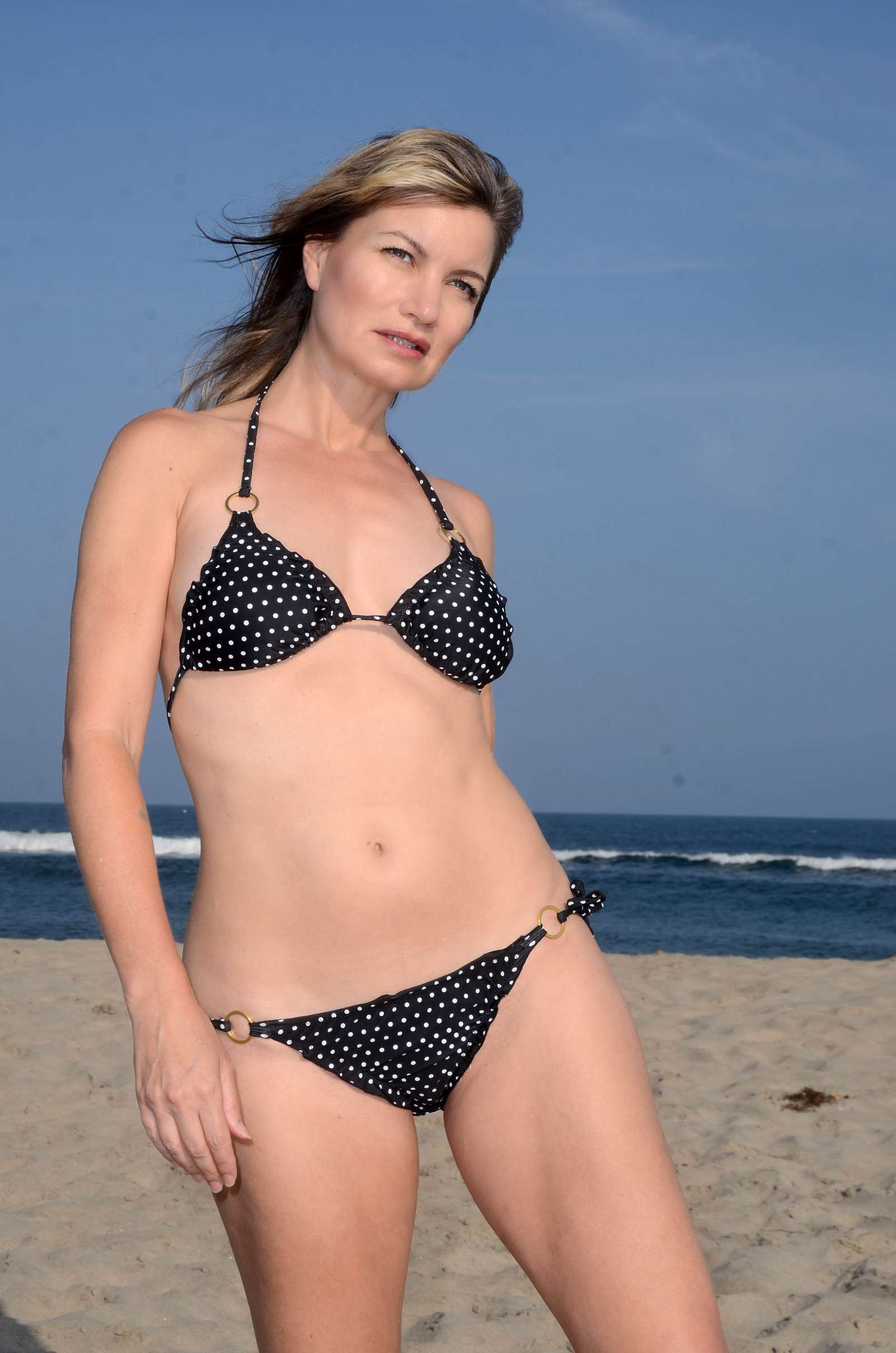 Rena Riffel in Bikini at the Beach in Malibu