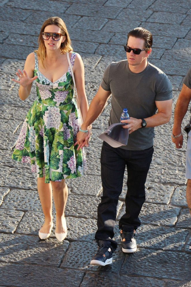 Rhea Durham and Mark Wahlberg out in Capri