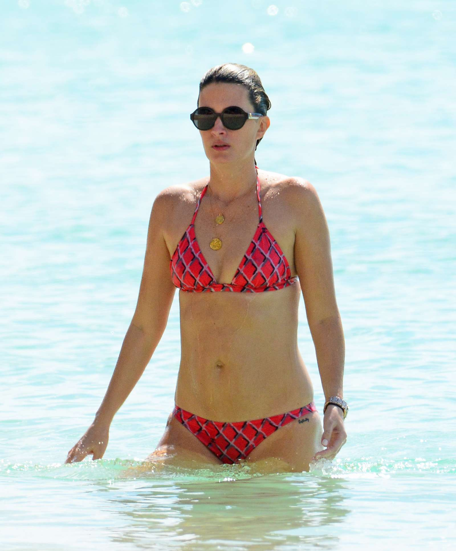 Rhea Durham in Bikini at the beach in Barbados