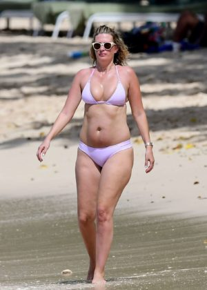 Rhea Durham in Bikini on the beach in Barbados