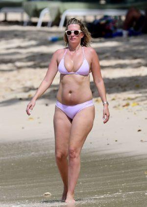 Rhea Durham in Bikini on the beach in Barbados