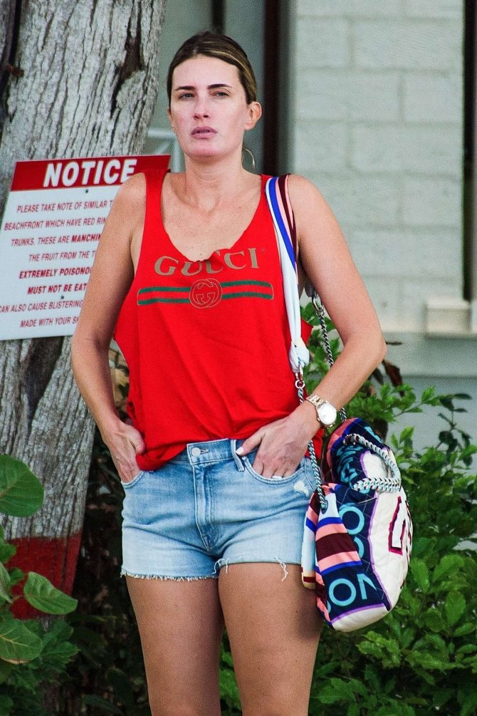 Rhea Durham in Jeans Shorts in Barbados