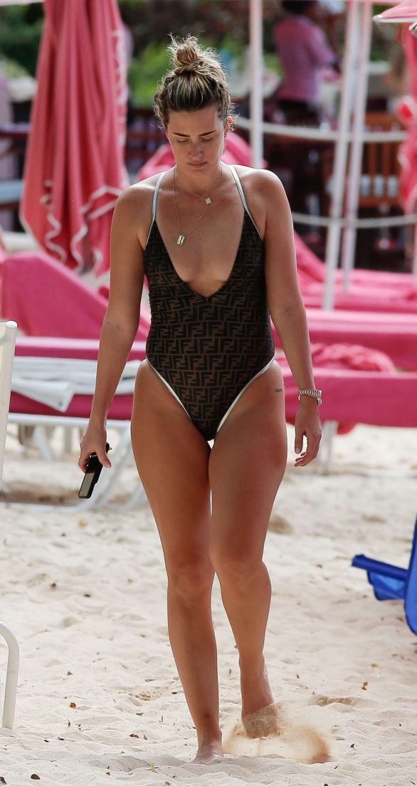 Rhea Durham in Swimsuit on the beach in Barbados
