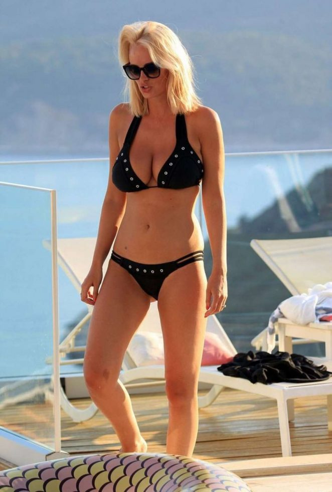 Rhian Sugden in Black Bikini on Vacation in Turkey