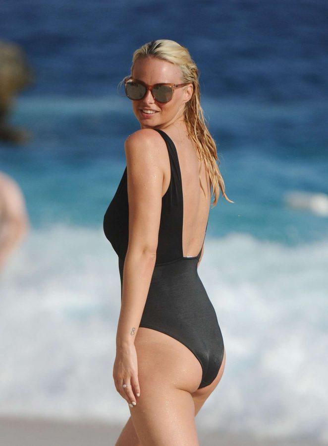 Rhian Sugden in Black Swimsuit in Turkey