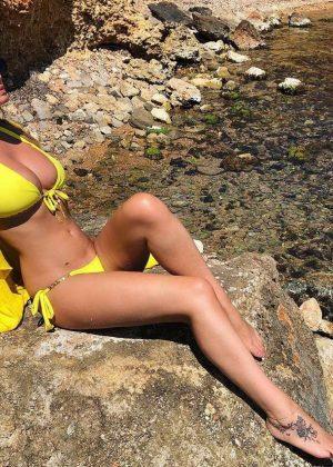 Rhian Sugden in Yellow Bikini in Ibiza