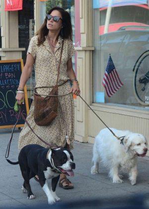 Rhona Mitra  - Walking her dogs in Santa Monica