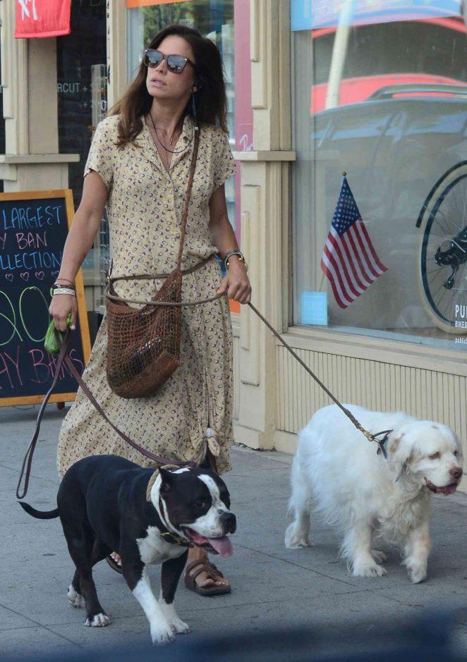 Rhona Mitra  – Walking her dogs in Santa Monica