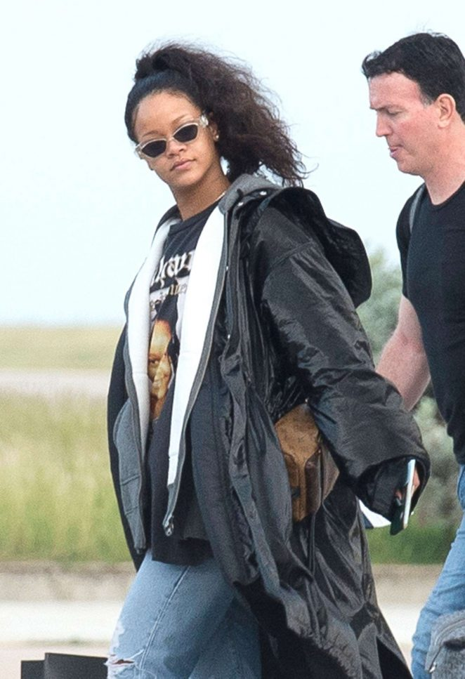 Rihanna Arrives on a private jet in Barbados