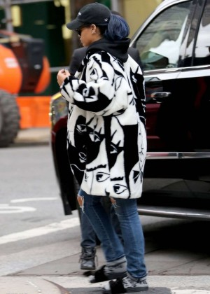 Rihanna at Her Appartment in New York