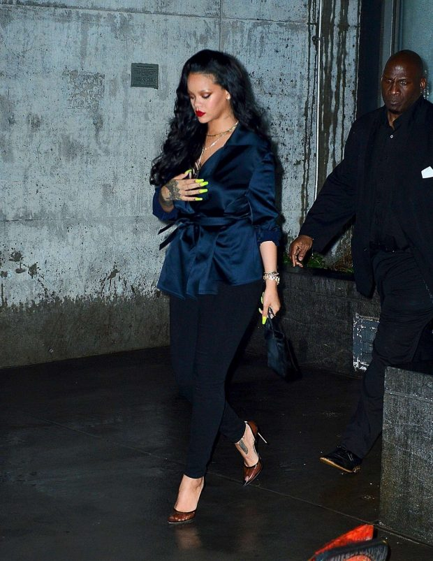 Rihanna at Perry Street restaurant in New York