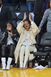 Rihanna at the Lakers vs. Utah Jazz game at the Staples Center in Los Angeles
