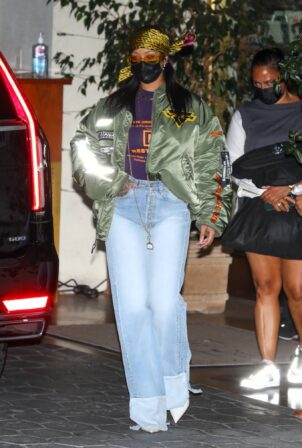 Rihanna - Dons Alpha jacket after attending an Oscar party in Los Angeles