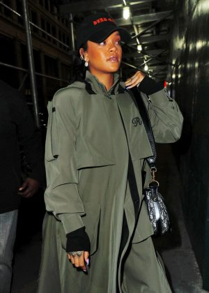 Rihanna in a long overcoat out in NYC