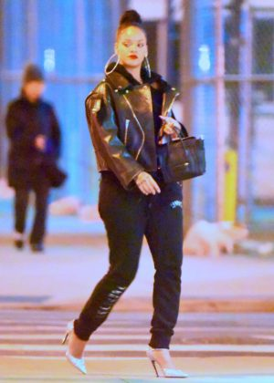 Rihanna in a moto jacket out in New York