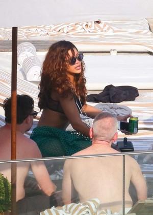 Rihanna in Black Bikini -03