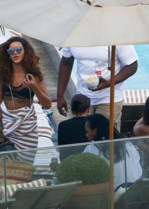 Rihanna in Black Bikini -05