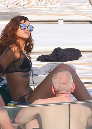 Rihanna in Black Bikini -07