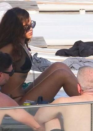 Rihanna in Black Bikini -14