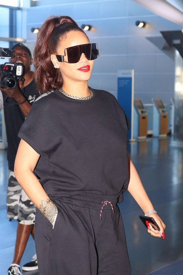 Rihanna in Black at JFK Airport in New York City