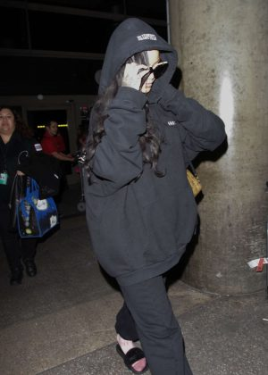 Rihanna in Black at LAX in Los Angeles