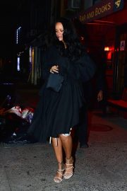 Rihanna in Black Coat - Night out in New York