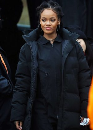 Rihanna in Black Jacket on the set of 'Ocean's Eight' in New York City
