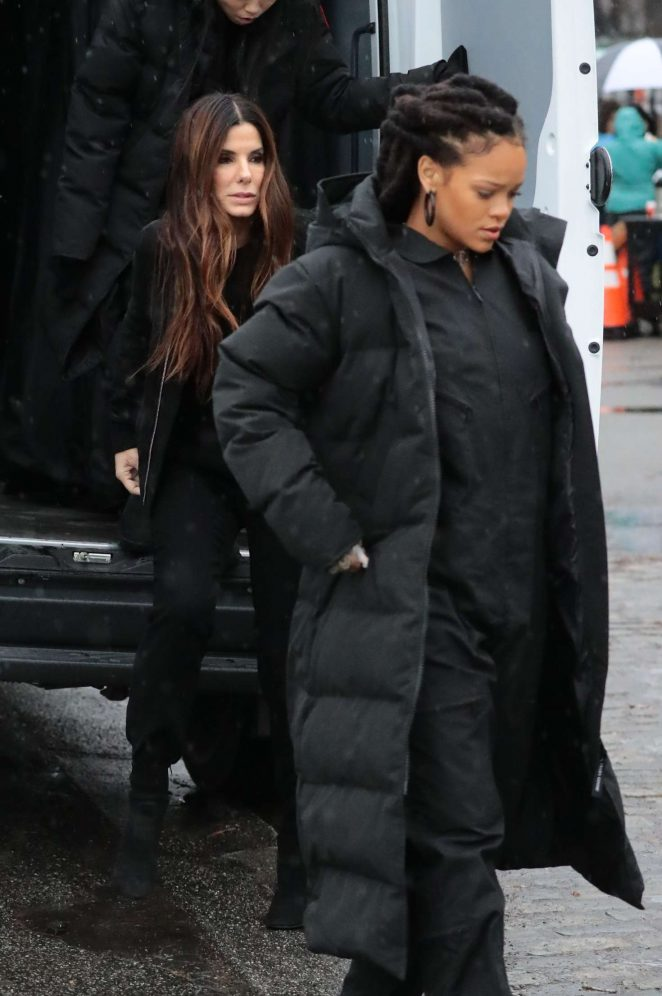 Rihanna in Black Jacket on the set of Oceans Eight -05