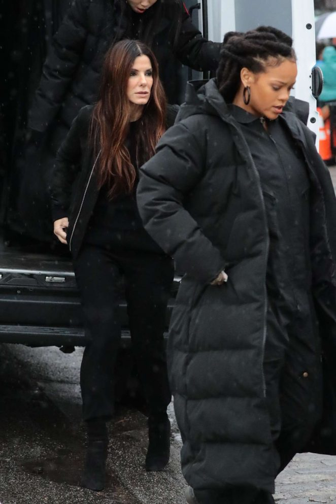 Rihanna in Black Jacket on the set of Oceans Eight -06