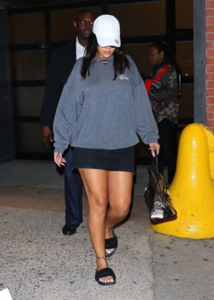 Rihanna in Black Mini Skirt out in New York City