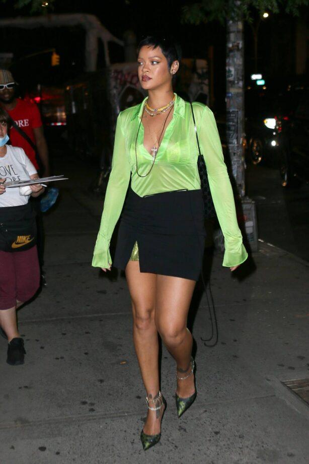 Rihanna - In black mini skirt outside The Bowery hotel in New York
