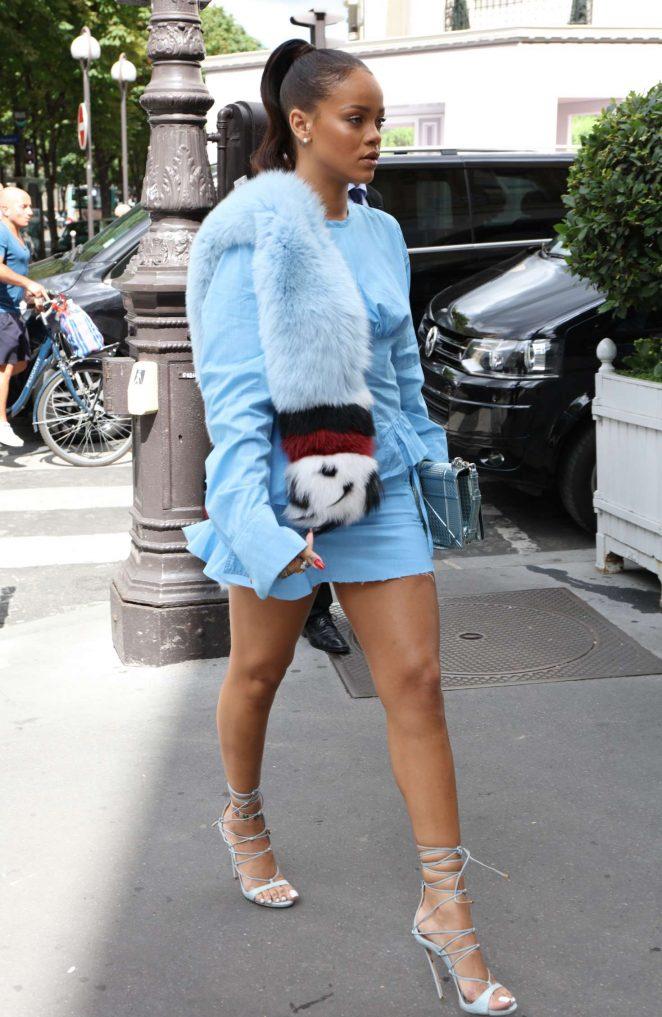 Rihanna in Blue Mini Dress out in Paris