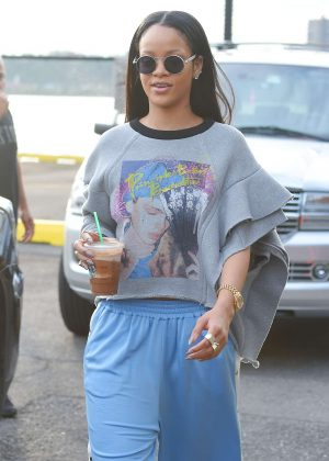 Rihanna  in Blue Pants out in New York