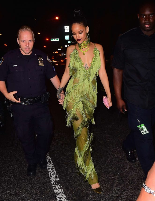 Rihanna in Green at Up and Down Club -03