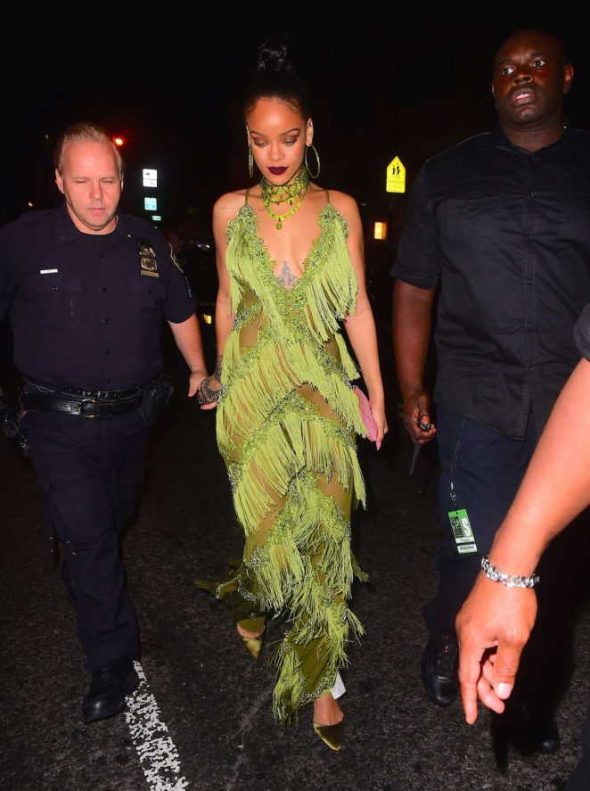 Rihanna in Green at Up and Down Club -04