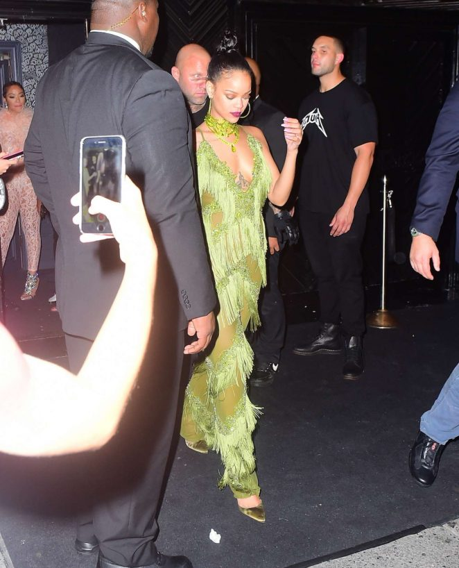 Rihanna in Green at Up and Down Club -13