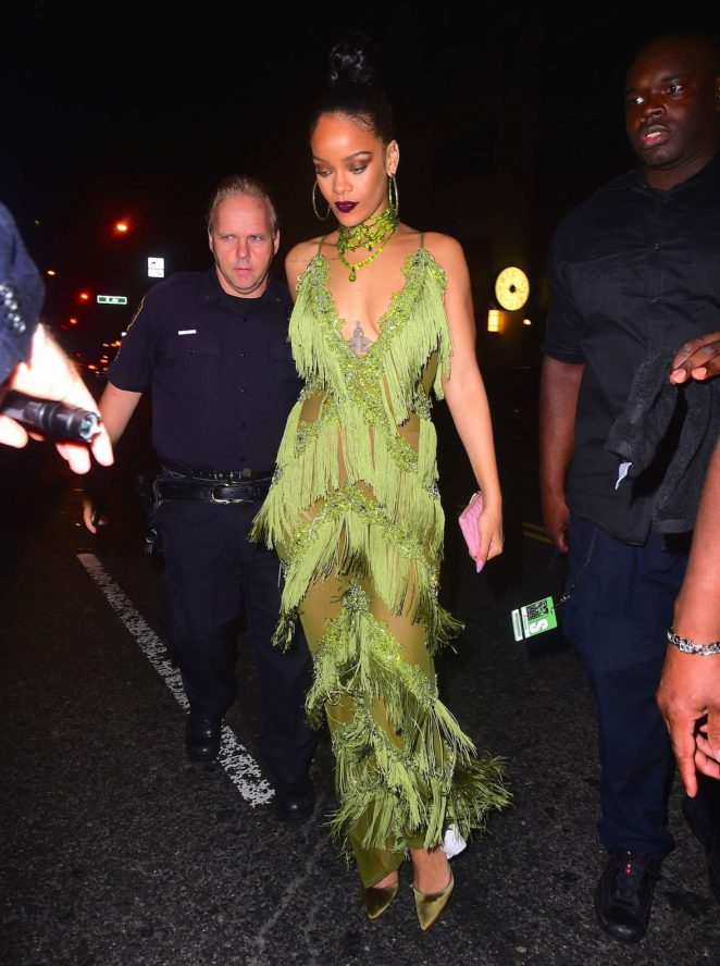 Rihanna in Green at Up and Down Club -15