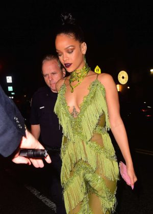 Rihanna in Green at Up and Down Club in NYC