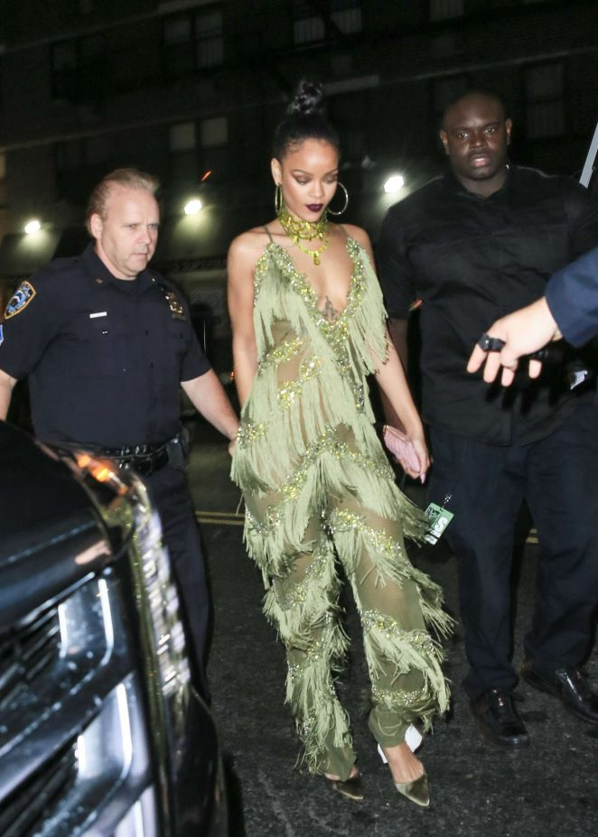Rihanna in Green at Up and Down Club -17