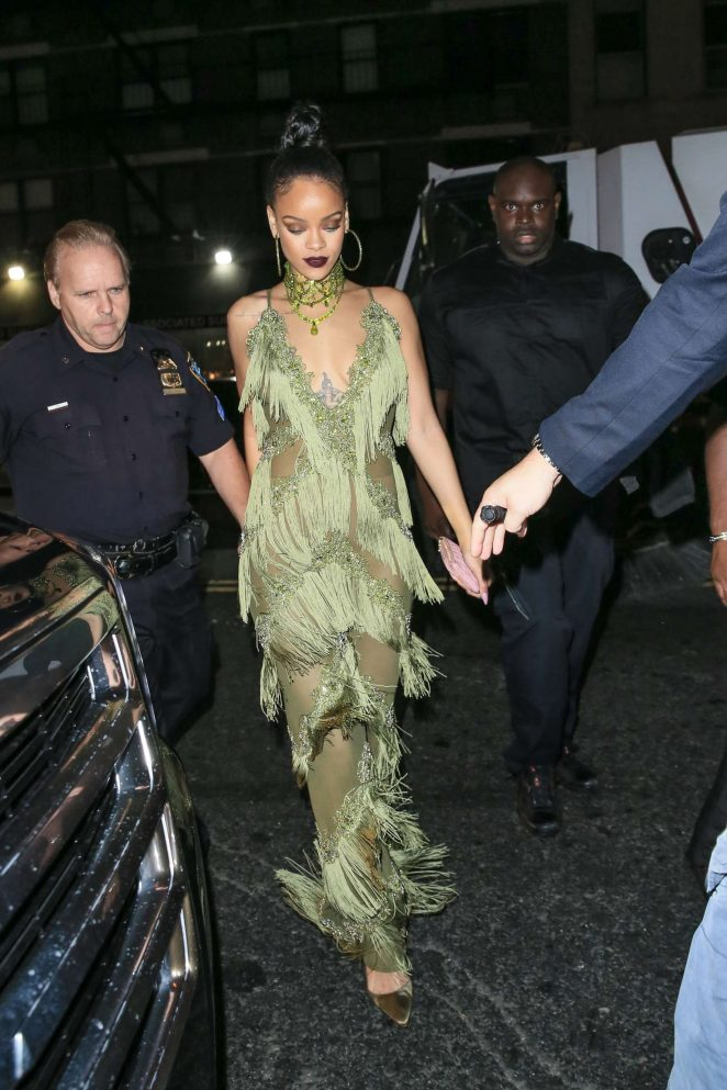 Rihanna in Green at Up and Down Club -25