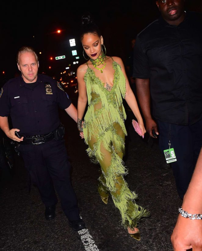 Rihanna in Green at Up and Down Club -28