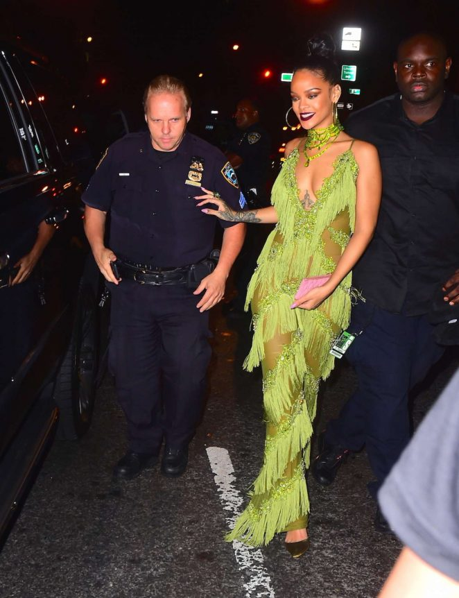 Rihanna in Green at Up and Down Club -32