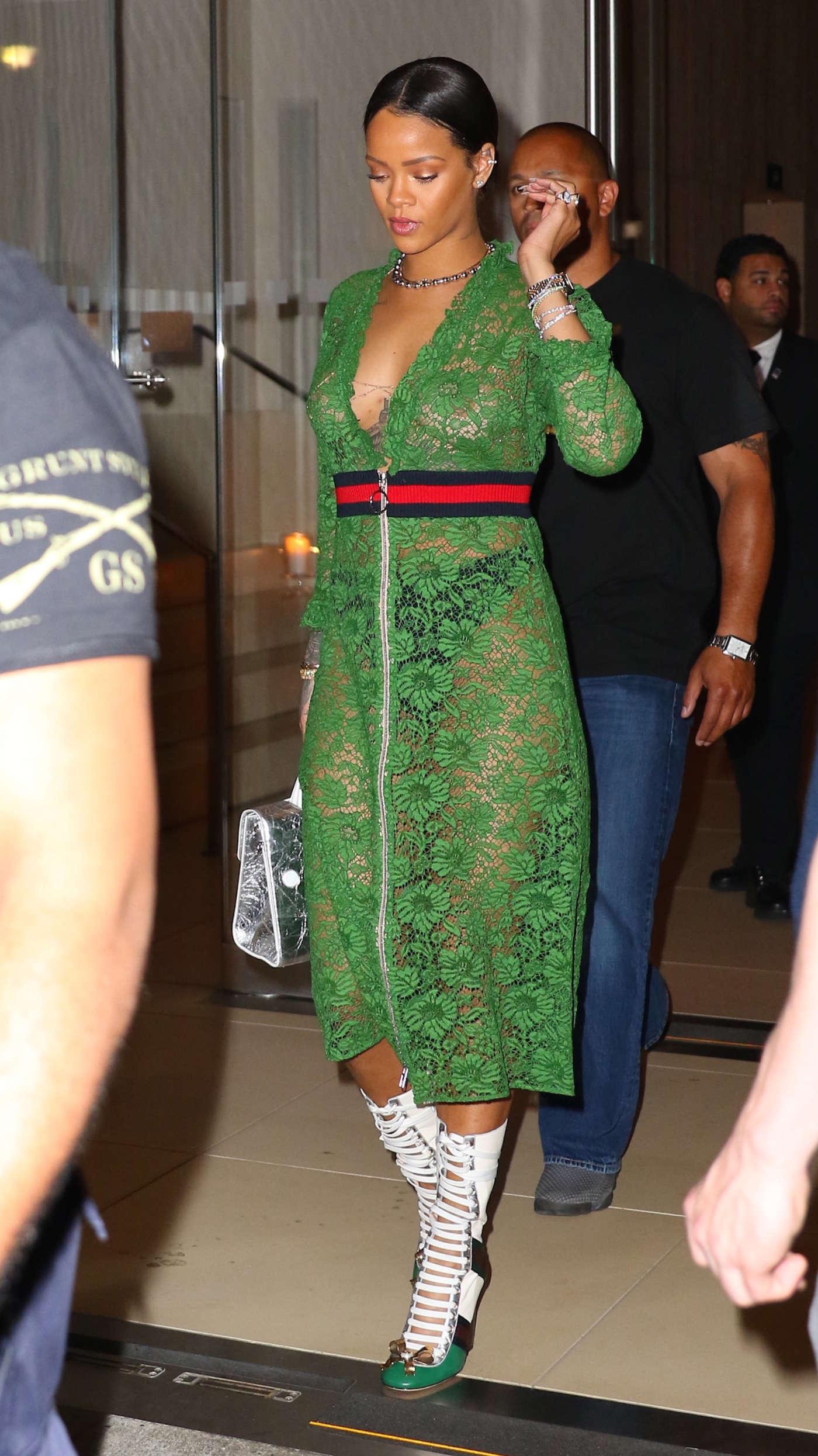 Rihanna in green lace ...