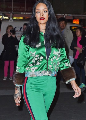 Rihanna in green out in NYC