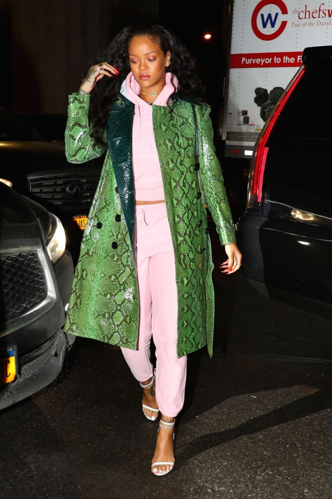 Rihanna in Green Python Jacket out in New York