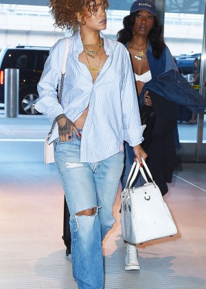 Rihanna in Jeans at JFK airport in NYC