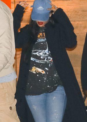 Rihanna in Jeans at Nobu in Malibu