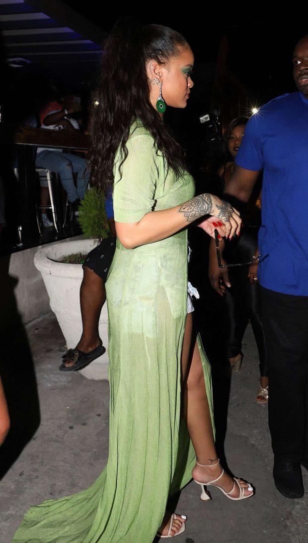 Rihanna in Jeans Shorts -01