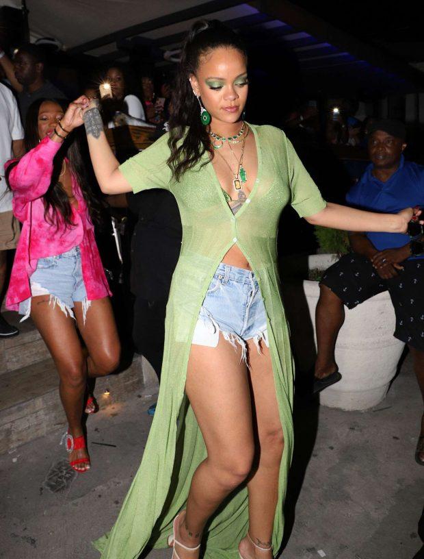 Rihanna in Jeans Shorts -14