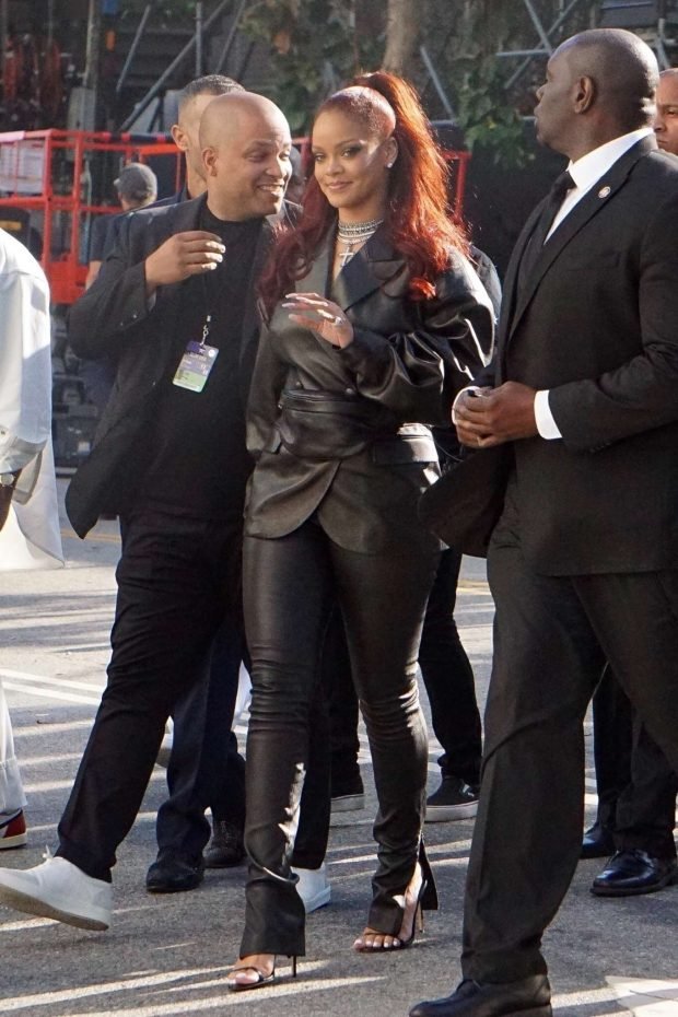 Rihanna in Leather: Arrives at BET Awards-01